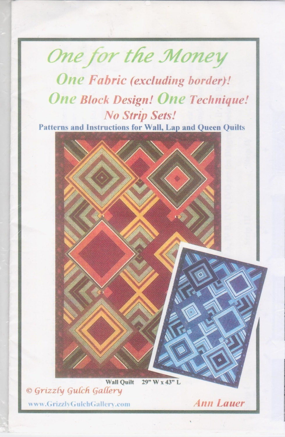 Quilt Patterns Using Stripe Fabric : One For The Money Quilt Pattern for striped fabric