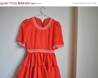 Summer Dress Bright Orange 1960s Dress -  Take Me Square Dancing Tonight Dress -  X Small Square Dance Dress - X Small Vintage