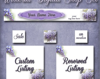 Custom Digital SHOP SET, WISTERIA, Shop Set, Shop Banner Set, Premade Shop, Premade Banner, Banners, Jewelry Cards, Earring display