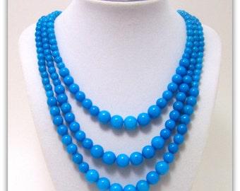 Gemstone Necklace - 3 Strand Necklace - Mountain Jade Necklace, Graduated Necklace, Graduated Necklace, Gemstone Jewelry