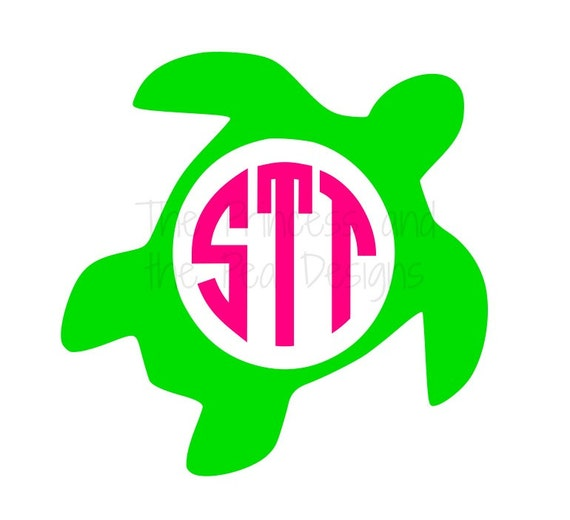Download Items similar to Monogrammed Sea Turtle Vinyl Decal ...