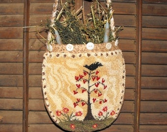Tree Of Hearts- Hanging Pocket Pouch Diddy Bag- With Drieds And Candles