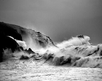 sea stack hit by huge waves