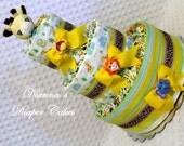 Baby Diaper Cake Zoo Animals Diaper Cake Jungle Safari Shower Centerpiece Gift