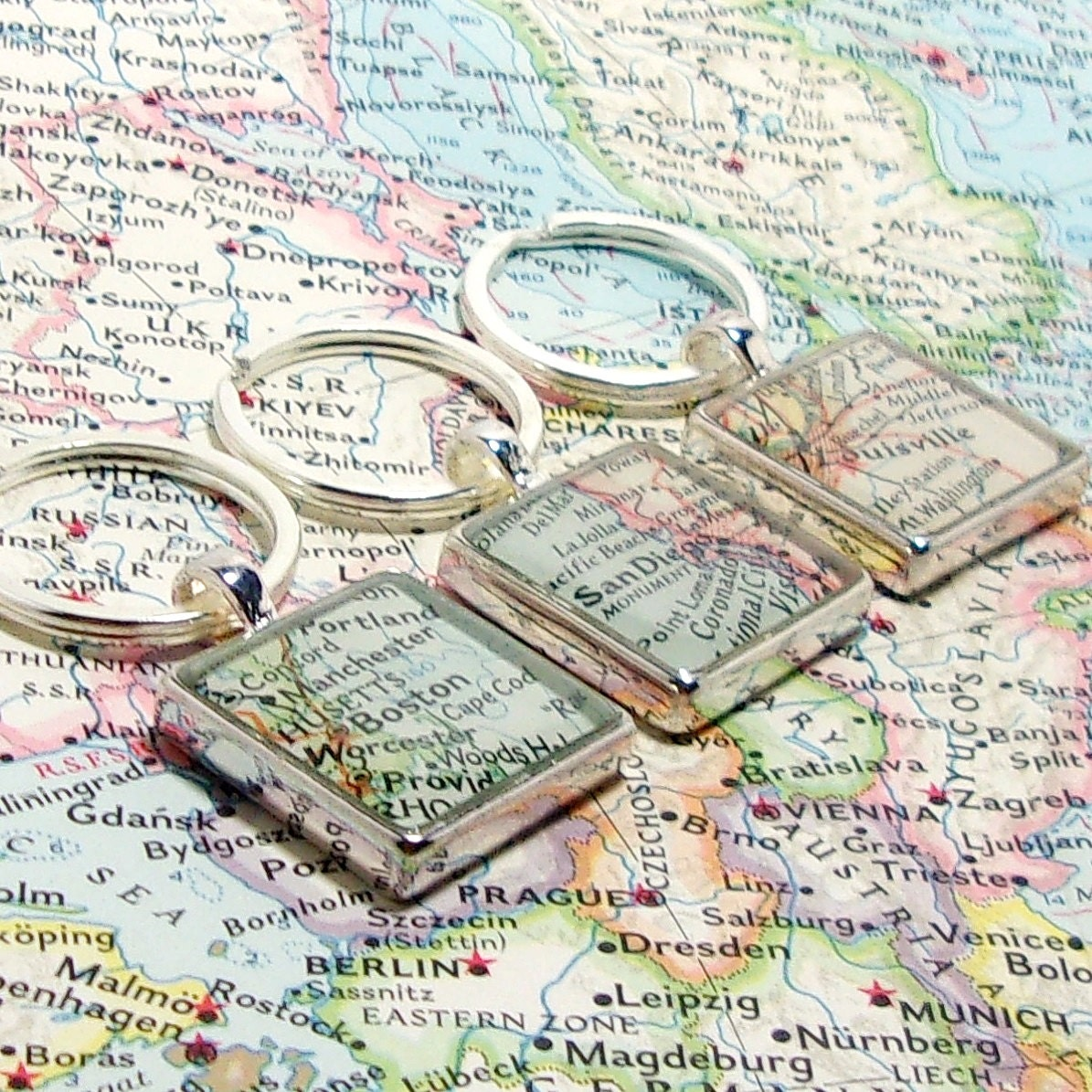 Custom vintage map keychain you select location anywhere in the custom vintage map keychain you select location anywhere in the world one map gumiabroncs Gallery