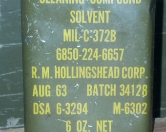 Vintage Military Gun Cleaning Solvent Can