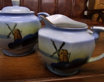 Soft blue Cream and Sugar China set with windmill motif - made in Japan