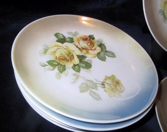 6 Beautiful Vintage Yellow Rose Plates with Blue and Yellow Luster Trim Germany