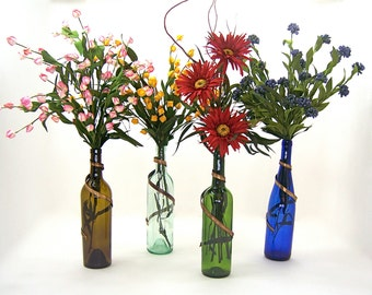 Wine bottle brass metal art vase decoration for wedding floral centerpiece, men, women bridesmaids wife mother grandmother gift idea