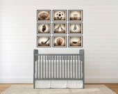 The Sports Collection, Set of Nine  prints, Nursery Decor, Rustic Decor, Vintage Sports Decor, Sports Room, Sports Art