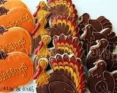 Thanksgiving Cookies, Turkey Cookies, Holiday Cookies, Pumpking Cookies, Giving Thanks Cookies