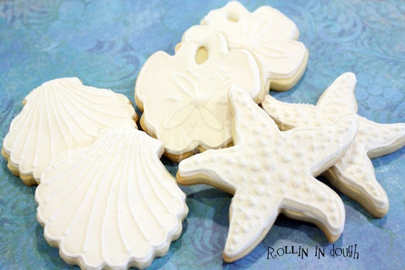Beach Cookies, Beach Wedding Cookies, Beach Wedding Favors, Seashell Cookies, Sand Dollar Cookies, Starfish Cookies, Beach Cookies