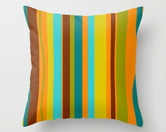 Striped Outdoor Pillow, Outdoor Pillow,  Outdoor Throw Pillow, Mod Outdoor Cushion, Retro Outdoor Pillow, Outdoor Throw Pillow
