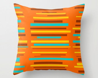 Striped Pillow Cover, Modern Striped Pillow Cover, Orange Pillow Cover, MidCentury Modern  Pillow Cover, Decorative Pillow Cover,