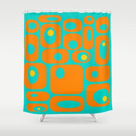 Orange Teal Shower CurtainGeometric Shower Curtain Mid