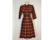 Vintage 1940s/1950's Plaid Wool Shirtwaist Dress, Red, Green, Yellow Plaid Dress