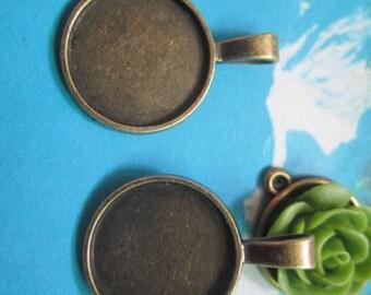 10pcs  21mm antiqued bronze round bezel pendant blanks