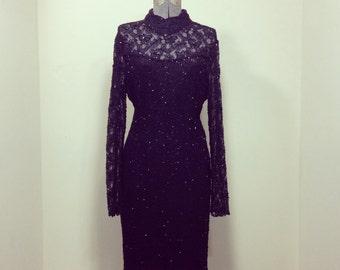 Vintage 80s Stènay Black Beaded Sequin Cocktail Dress M L