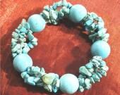 SALE - Turquoise Jewelry, Adjustable Bracelet, Turquoise Nugget Stretch Bracelet BR-87
