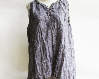 B6, Floral Two Layers Sleeveless Grey Cotton Blouse, Grey shirt