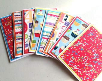 Birthday Cards, Set of 8 Cards and Envelopes, Handmade Set of Birthday Cards