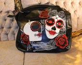 sugar skulls hand painted handbag