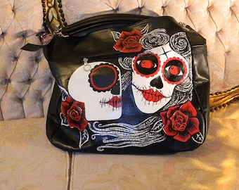 sugar skulls hand painted handbag
