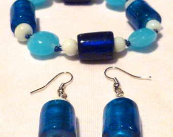 Cool Glass Beaded Bracelet & Earrings Set