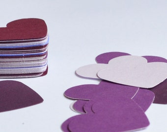 Purple Die Cut Hearts, Assorted Purple Confetti for Wedding Reception or Party, 100 Medium Sized Hearts, Paper Hearts