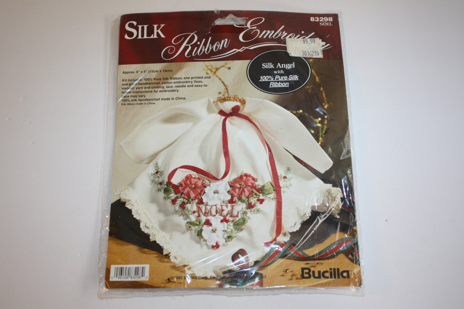 Silk ribbon embroidery kit angel christmas ornament bucilla