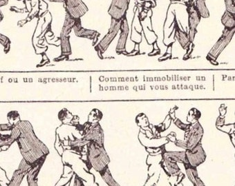 Beautiful Antique Print french Encylopedia Page 1920s Engraved iIlustrations Self defence paper projects scrapbooking, collage