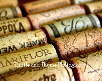 Wine Corks Photographic Art Print in color or Black and White - 5x7 Photograph