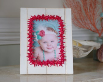 Red Coral Starfish White Washed Beadboard Frame - 4x6 Photo - Beach Decor - Beach Wedding