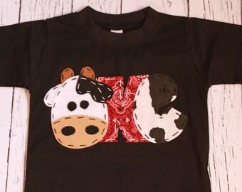 birthday shirt, one, cow, 1st,  t shirt, barnyard, farm theme, boy black shirt