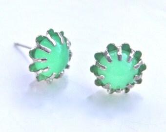 Green Opal Glass Post Earrings - Silver Princess Round Scalloped Edge Rhinestone Post Earring - Wedding, Bridesmaid,Beach
