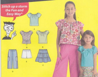 Simplicity Sewing Pattern 1455 HH Child/Girl Tops, Skirt, Shorts, Cropped Pant New UNCUT