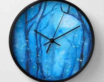 Fog and Fireflies Art Clock  Black
