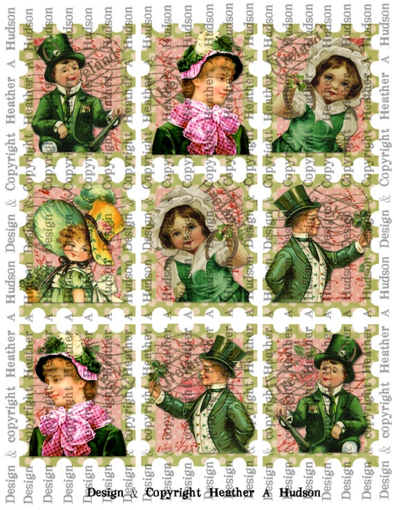 Victorian Vintage Shabby Chic Pink & Green St. Patrick's Day Stamps Tags  Digital Collage sheet Printable
