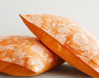 Orange Printed Dupioni Silk Pillow , Indian Scene Printed Pillow , Decor Pillow , Throw Pillow