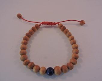 Tibetan Mala Sandalwood Wrist mala Bracelet with lapis spacer free handmade draw string silk pouch