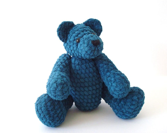 Crocheted Teddy Bear Teal Fully Jointed Collectible Amigurumi