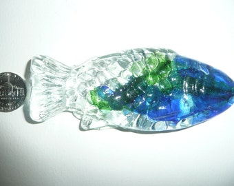Fish paperweight, Glass gift,  decoration, Stocking stuffer Free shipping