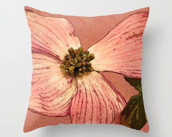 Pink Dogwood, Mauve, Pink, Green, Brown, Decorative Throw Pillow Cover