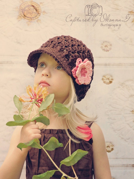 Baby Girl Hat, 3 to 6 Months Baby Girl Newsboy Cap, Brown with Rose Pink and Baby Pink Flower. Great for Photo Props. Baby Shower Gift.