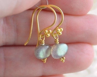 Labradorite Jewelry, Gold Vermeil Drop Earrings, Simple and Petite, Smooth Gemstone Pebbles, Free Shipping