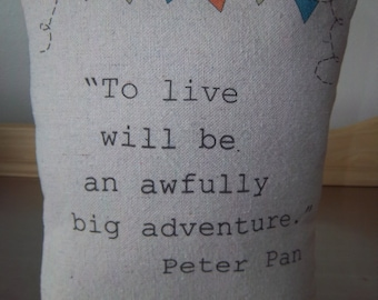 Peter Pan nursery pillow handmade baby shower gift book quote J M Barrie childrens literature home decor baby pillow kids birthday gifts