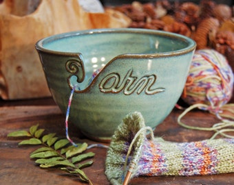 Yarn Bowl in Green (As Featured in Vogue Knitting) Large Size READY TO SHIP