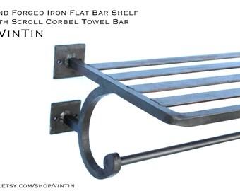 blacksmith hand forged iron metal steel towel shelf bathroom modern industrial train rack with scroll corbel