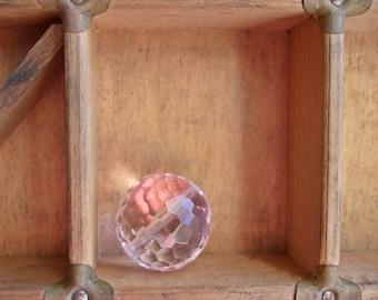 Large Faceted Pink Quartz Glass Bead - Destash