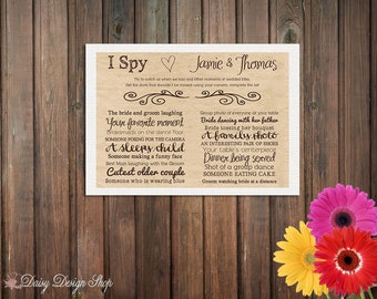 10 I Spy Cards on Brown Kraft Cardstock with Linen Backer - Wedding Reception Game